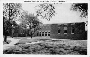 Shawnee Oklahoma~Municipal Auditorium~1940s B&W Postcard