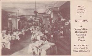 Kolb's Restaurant Interior Main Dining Room New Orleans Louisiana 1948
