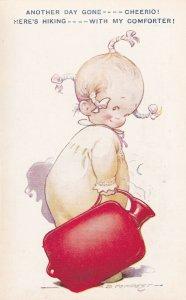 AS; COMICS, 1900-10s;  Toddler toting a hot water bag