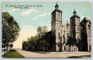 Manistee Michigan~St Joseph's Church~Kosciol St Jozefa~Corner View~1919