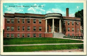 Wabash, Indiana Postcard WABASH COUNTY Hospital Building Front View 1955 Cancel