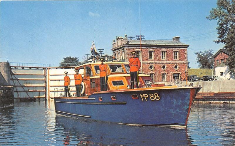 Sault Ste Marie Ontario~Royal Canadian Mounted Police Patrol Boat~1950s Postcard