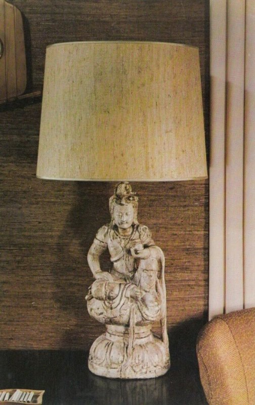 CHICAGO, Illinois, 40-60s; Almco Lamps, Temple Wood Carving in Clay Patina