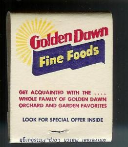 GOLDEN DAWN TOMATO JUICE Full Unstruck Matchbook