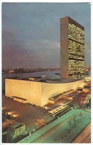 United Nations at Night, New York City,1960s unused Postcard