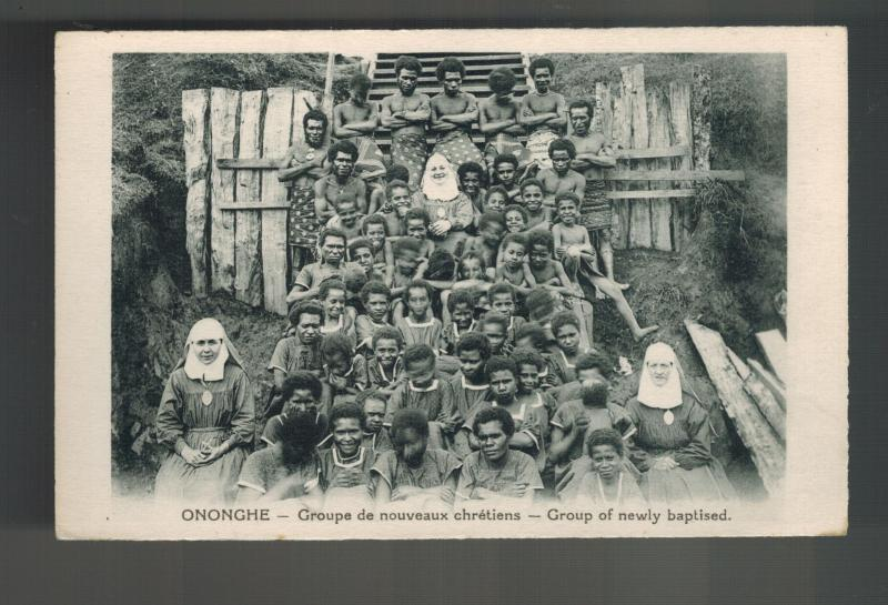 Mint New Guinea BW RPPC Postcard Papua Missionaries and Baptised Natives