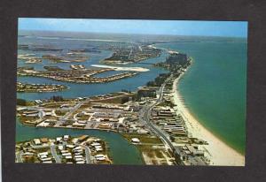 FL Aerial view Treasure Island, Boca Clega Bay, Florida, Postcard PC