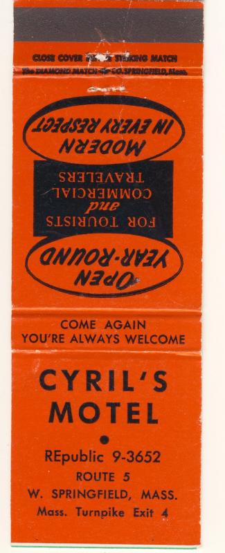 Vintage West Springfield, Mass/MA Matchcover, Cyril's Motel
