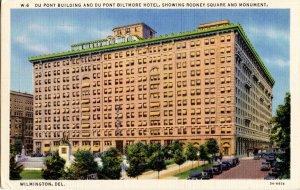 DE - Wilmington. DuPont Building, DuPont Hotel, Rodney Square, Monument