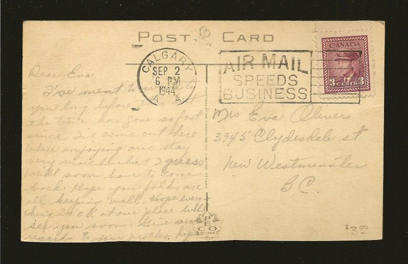 Postmarked 1944 Calgary Alta Calgary Street Scene Color Postcard CLIPPED EDGE