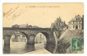 Mayenne , France, PU-1915, Le Vieux Pont et l´Eglise Notre-Dame