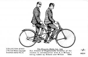RPPC 1886 Bicycle Made For Two Collector Series Postcard~Inventor Albone 1970s
