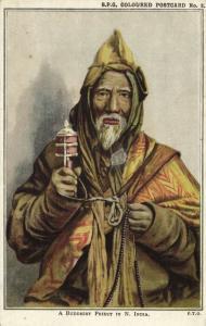 tibet thibet, Tibetan Lama with Prayer Wheel (1910s) Mission Postcard