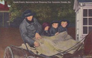 Amish Family Returning From Shopping Trip Lancaster County Pensylvania