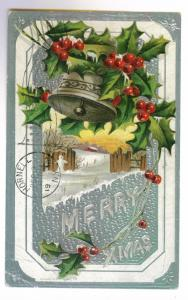 Birdsall to Hornell, New York used 1910 Embossed Christmas Postcard