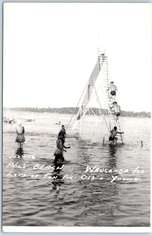 Wauconda, Illinois RPPC Real Photo Postcard PHIL'S BEACH Chute Slide c1940s