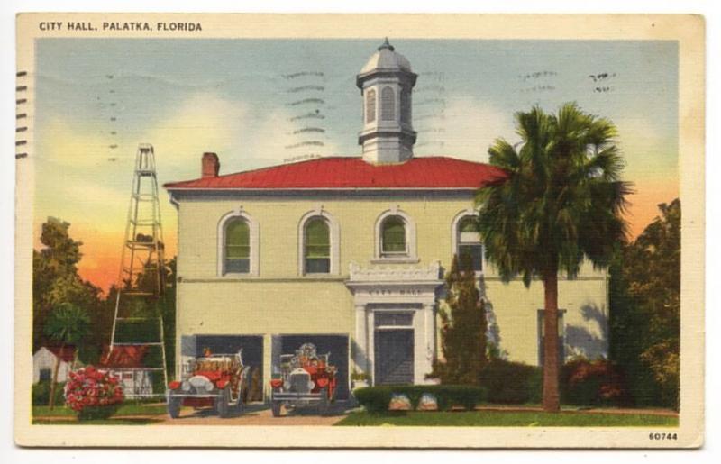 Palatka FL City Hall Fire Trucks Station 1940 Postcard