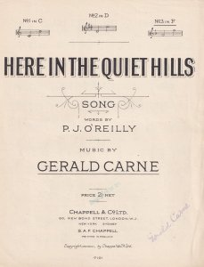 Here In The Quiet Hills Gerald Carne Olde Sheet Music