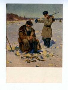 183467 RUSSIA Fishermen fishing NESTEROV SH 1955 year postcard