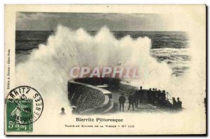 Postcard Old Picturesque Wave Biarritz the rock of the Virgin