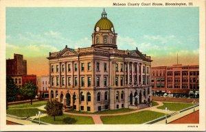 Bloomington IL~Mclean Co Court House~LINEN UNPOSTED POSTCARD