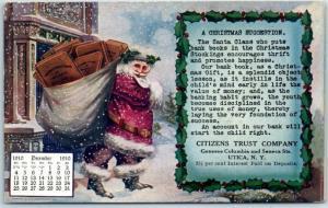 Utica, New York Postcard CITIZENS TRUST BANK Christmas Santa Claus 1910 Cancel