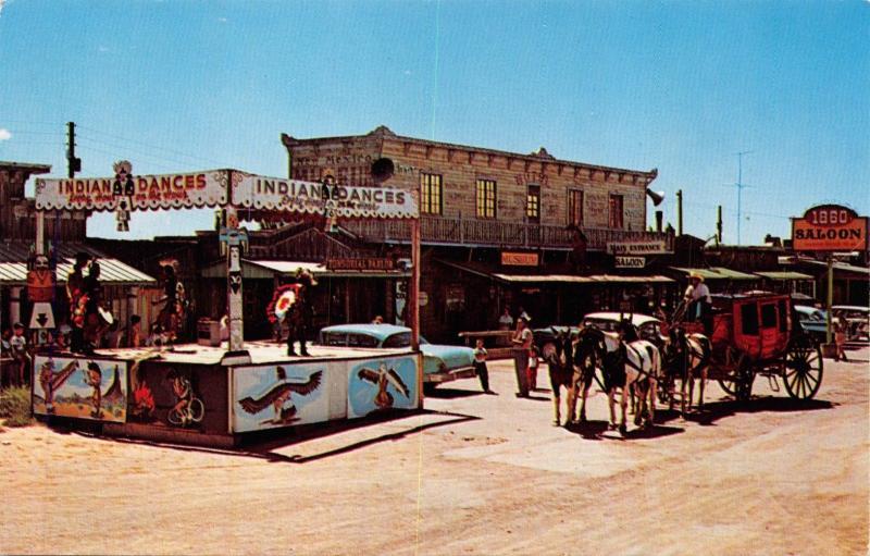 ALBUQUERQUE NM~INDIANS DANCING-LONGHORN RANCH MUSEUM-HWY ROUTE 66 POSTCARD 1960s