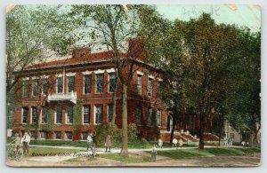 Evanston Illinois~Hinman Avenue School~Kids on Sidewalk~Boy on Bicycle~1907 PC