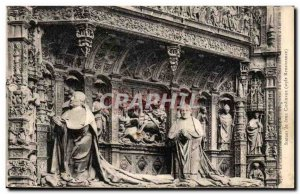 Old Postcard Rouen Cathedral Statues of two cardinals