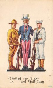 Uncle Sam United for Right and Fair Play USA 1918