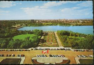 Regina SK Sask View From Legislative Building Flag Old Cars c1950s Postcard D9