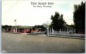 Ten Sleep, Wyoming Postcard TEN SLEEP INN Cabins Court Curteich c1940s Unused