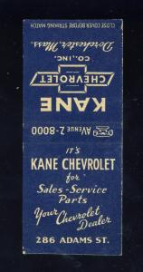 Dorchester, Massachusetts/Mass/MA Matchcover, Kane Chevrolet