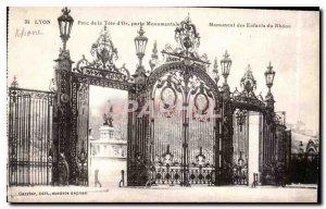 Old Postcard Lyon Parc de la Tete Or monumental gateway monument Children Rhone