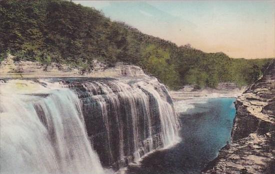 New York Letchworth State Park Upper Falls Albertype
