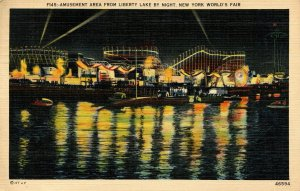 NY - New York World's Fair, 1939. Amusement Area from Liberty Lake
