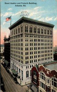 Vtg 1910s Hotel Ansley and Forsyth Building Storefronts Old Cars Postcard