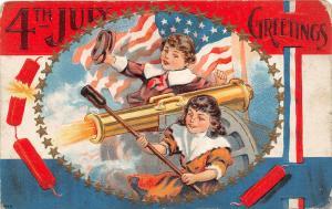 F64/ Patriotic Postcard c1910 Cannon kids Fireworks 4th of July 3