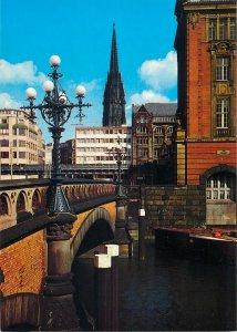 Postcard Germany Hamburg bridge river boat architecture tower church city