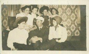 Circa 1910 Woman showing man & watch locket RPPC Photo Postcard 21-10389