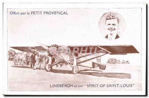 Old Postcard Jet Aviation Le Petit Provencal Lindbergh and his Spirit of St. ...