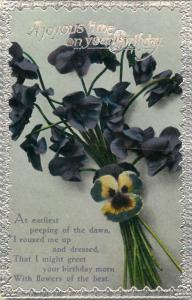 Floral emboss border 1930s greetings postcard birthday heart-ease flowers