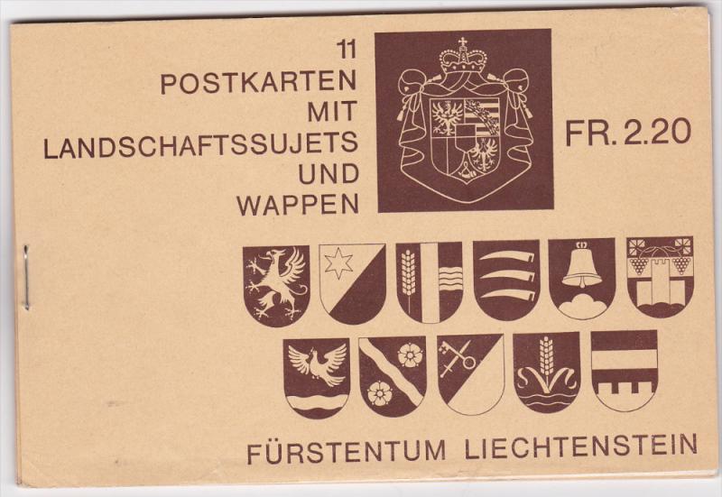 11 Postkarten mit Landschaftssujets und Wappen , Furstentum LIECHTENSTEIN , 3...