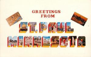 St Paul MN~Large Letter Chrome~Capital~Skyline~1960s Postcard
