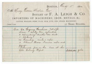 1870 Billhead, F. A. LEIGH & CO., Importers of Machinery, Boston, Massachusetts