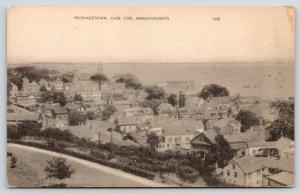 Provincetown Cape Cod MA~Birdseye~Neighborhood Homes~1930s American Art Postcard