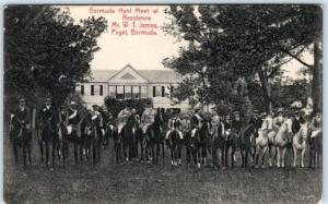 PAGET, BERMUDA  Hunt Meet at Mr. W.T. James Residence  Horses/Riders  Postcard