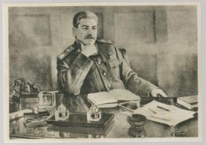 New  Postcard Josef Stalin at his Desk 70th Birthday Italy USSR Friendship Assoc
