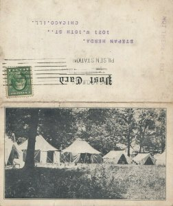 NEW BUFFALO , Michigan, 1913 ; Camp SOKOL , Bi-Fold postcard