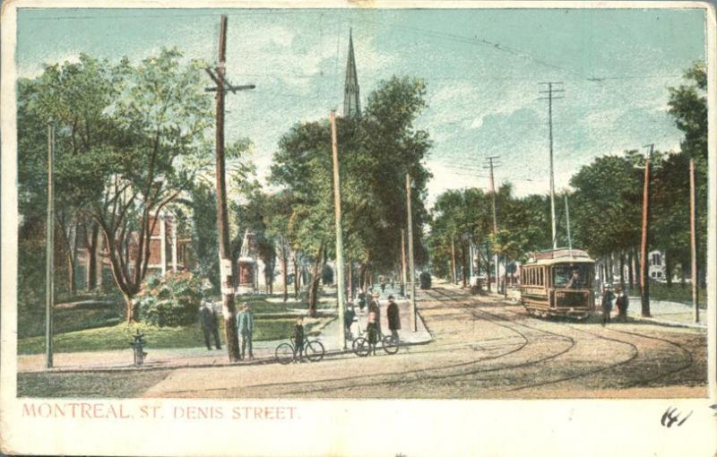 Trolley and Bicycles on St Denis Street Montreal QC Quebec Canada pm 1905